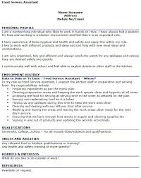 restaurant food service resume samples  strong sense of years    resume for food service assistant