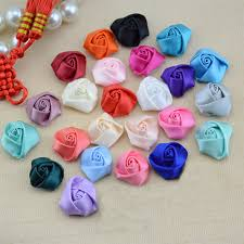 10Pieces/Bag <b>Mix Color</b> 2.5cm Little Ribbon <b>Rose Flower</b> Satin ...