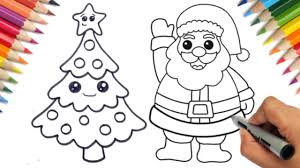 How to draw easy <b>santa claus</b> and <b>christmas tree</b> step by step | kids ...