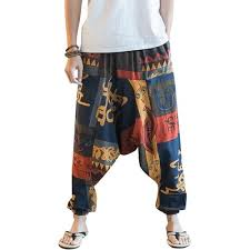 <b>Fashion</b> Men Hip Hop Aladdin Baggy Printed <b>Cotton Linen Harem</b> ...