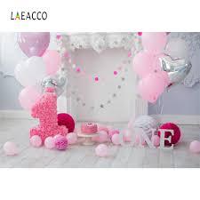 <b>Laeacco Pink Balloons</b> Baby 1st Birthday Party Cake Flower Gray ...