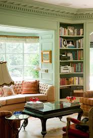 living room traditional with beige tufted sofa built in image by allan malouf studio built in living room furniture