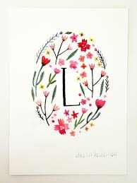Etsy Art Monogram Letter L Floral Art Print By Ameliaherbertson On Etsy