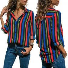 Astylish Women V Neck <b>Striped</b> Roll up Sleeve Button Down ...