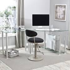 glass desk for office minimalist black tinted glass work station with chromed metal legs classy office bathroomoutstanding black staples office furniture lshaped