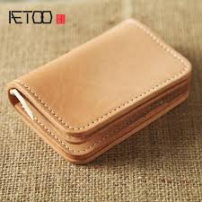 <b>AETOO Original</b> retro first layer of leather short wallet vertical zip ...