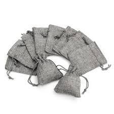 10PCS Grey Burlap Bags Jute Hessian Drawstring ... - Amazon.com