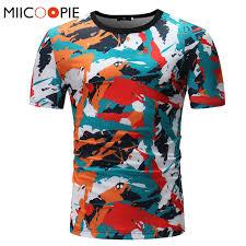 2018 Male Novelty <b>3D Hipster</b> T Shirt Men Summer <b>Multicolor</b> Paint ...
