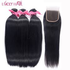 usexy hair peruvian straight hair with lace closure free middle part 3 pcs human bundles remy extensions
