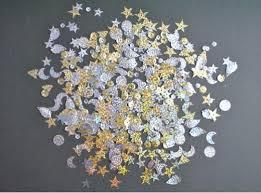Mixed <b>shaped sequins</b> - silver and gold holographic
