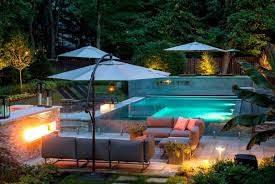 the flattering backyard design with unique outdoor lighting large umbrellas and unique outdoor lighting for amazing amazing outdoor lighting