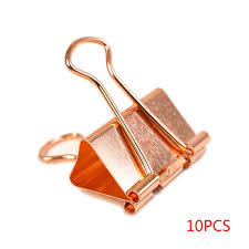 <b>10pcs Rose Gold</b> Paper Binder Clip <b>Fashion</b> Metal Dovetail ...