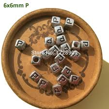 <b>Silver</b> Beads with Letters Big hole WHOLESALE 2600 pcs <b>6 mm</b> ...