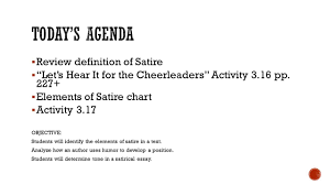 review definition of satire iuml sect ldquo let s hear it for the cheerleaders review definition of satire iuml130sect let s hear it for the cheerleaders activity 3 16 pp