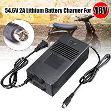 48V <b>Lithium Battery</b> Charger Adapter 54.6V 2A For <b>Electric Bicycle</b> ...