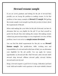 hotel steward cv resume sample eager world it