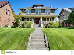 nice curb appeal of american craftsman style house stock photo american craftsman style
