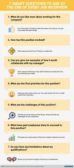 best ideas about questions asked in interview 7 smart questions to ask at the end of every job interview you re in the hot seat you ve justanswered a dozen questions about yourself and successfully