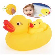 <b>Hot Sale</b> Baby Kids <b>4Pcs</b>/set <b>Rubber</b> Yellow Duck Family Bath Set ...