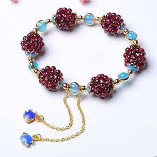 2019 <b>Natural Wine Red</b> Garnet Round Ball Bracelet Fashion ...