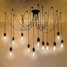 fuloon vintage edison multiple ajustable diy ceiling spider lamp light pendant lighting chandelier modern chic industrial dining12 head cable cable pendant lighting