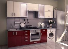 modular kitchen colors:  modular kitchen cabients with glossy color with white washing machine and steinless countertops