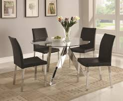Transitional Dining Room Tables Nayri Black Glass Top Glass Dining Room Tables