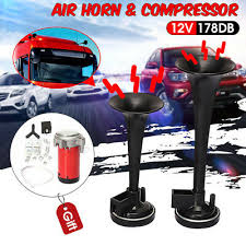 <b>178DB Ultra Loud</b> Dual Trumpet Air Horn Compressor <b>12V</b> Car ...