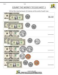 Printable Money Worksheets to $102nd grade math worksheets count the money to 10 dollars 1
