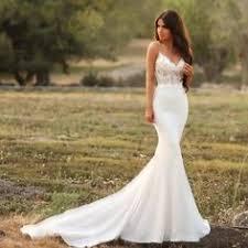 verngo mermaid wedding dress v back beach gowns ivory appliques soft stain boho bride vestidos de novia 2019