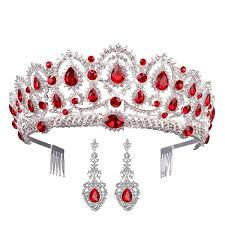 Air Jewelry KMVEXO <b>Gorgeous Silver Crystal</b> Tiaras With Earrings ...