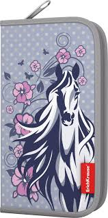 <b>Пенал</b>-<b>книжка ErichKrause White</b> Horse, с наполнением, 11 x 20,,5 ...