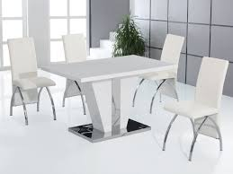 White Dining Room Chairs Full White High Gloss Dining Table And 4 Chairs Set Homegenies