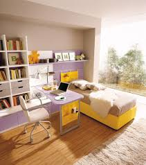 furniture adorable design ideas for kids bedrooms by yellow brown bed connected with book shelves on the left side also a simple desk and chair looks so adorable simple home office decorating ideas