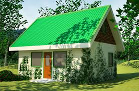Green House PlanA play on words  this small house has     green     walls and a living roof  Plant covered buildings are very practical  because they can save materials and
