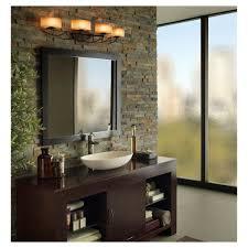 decoration inspiring rustic bathroom vanity light fixtures using oval drum lamp shade adhered by stacked stone bathroom lighting fixtures rustic lighting