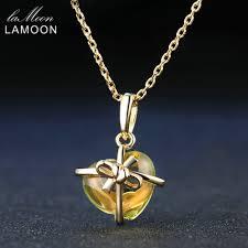 Lamoon <b>Romantic</b> Heart Natural <b>Citrine</b> 925 Sterling Silver Chain ...