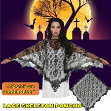 <b>Halloween Party</b> Shawl <b>Skeleton Skull Lace</b> Cloak Costume Props ...