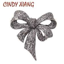 2018 <b>CINDY XIANG Black Color</b> Rhinestone Bow Brooches For ...