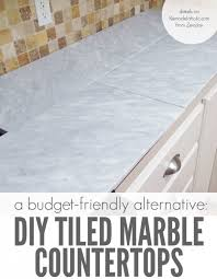 diy tile kitchen countertops: self installed tile marble countertops are a cheaper alternative to slab marble counters