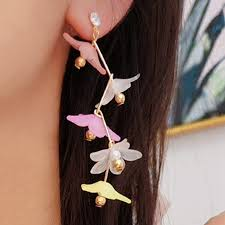 <b>Korean</b> Colorful <b>Sweety</b> Flower Long Earrings Accessories ...
