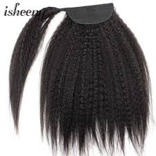 <b>Isheeny Kinky Straight Brazilian</b> Remy Human Hair Clip in Ponytail ...