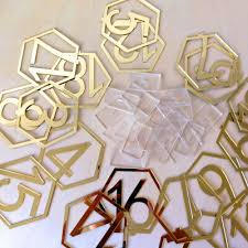 <b>1-20 Signs Hexagon</b> Table Numbers with Base for Wedding Party ...