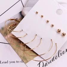 HOT SALES * <b>Fashion</b> Women 6 Pairs Gold <b>Big Circle</b> Ear <b>Hoops</b> ...