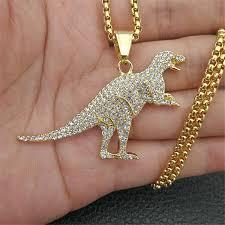 Hip Hop Tyrannosaurus Rex Pendant Necklace Stainless Steel <b>Gold</b> ...