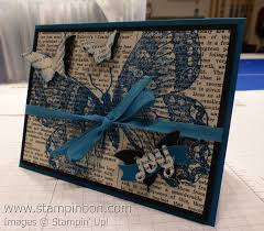 just my type typeset specialty designer series paper stampin bon i stamped the swallowtail background stamp onto the typeset dsp in island indigo ink and then coordinated the 1 4 cotton ribbon and cardstock in the