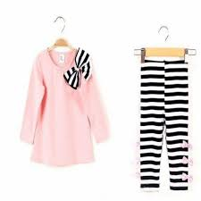 <b>Autumn Winter</b> Kids <b>Girls</b> Bow Striped <b>Leggings</b> Suit Long Sleeve ...