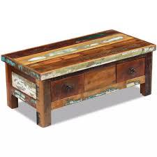 vidaXL <b>Coffee Table</b> Drawers <b>Solid Reclaimed</b> Wood – Stylish ...