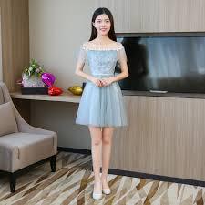 <b>Blue Grey Colour</b> Sleeveless Dress <b>Mini</b> Wedding Party Dress ...