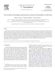 food safety knowledge and practices among food handlers in food safety knowledge and practices among food handlers in slovenia pdf available